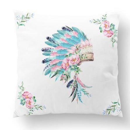 Cushion Cover - Headdress - Aqua_Pink