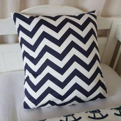Cushion Cover - Navy & White Chevron