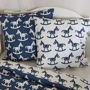 Cushion Cover - Rocking Horses - Navy