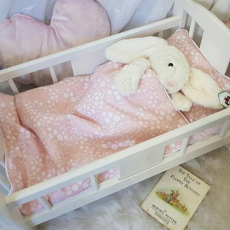Dolls Cot Bedding Set - Blush Floral
