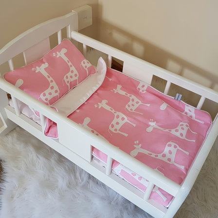 Dolls Cot Bedding Set - Giraffes