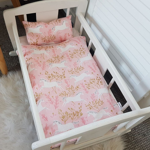 Dolls Cot Bedding Set - Unicorns
