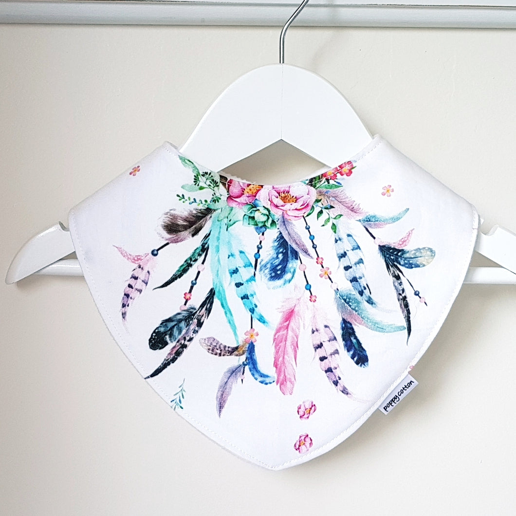 Dribble Bib - pink and aqua feathers