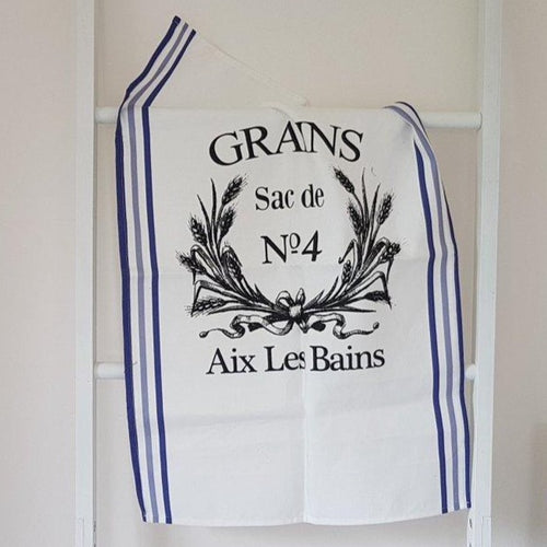French Grain Sack Style Tea Towel - Navy Blue