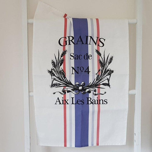 French Grain Sack Style Tea Towel - Blue & Red
