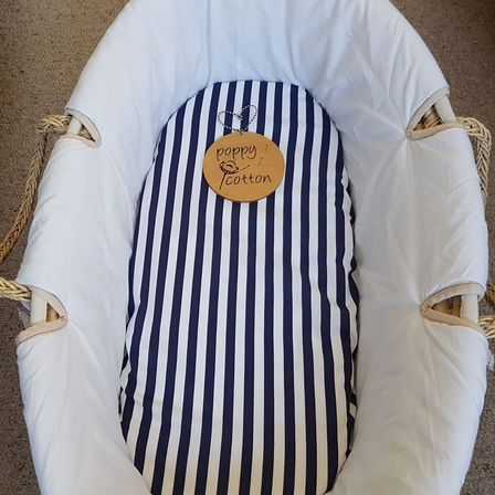 Fitted Moses Basket Sheet - Navy & White Stripe
