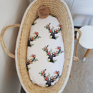 Fitted Moses Basket Sheet - Floral Deer- Organic Cotton