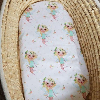 Fitted Moses Basket Sheet - Fairies - Organic Cotton