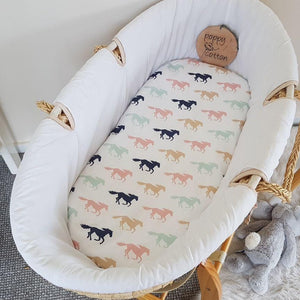Fitted Moses Basket Sheet - Horses