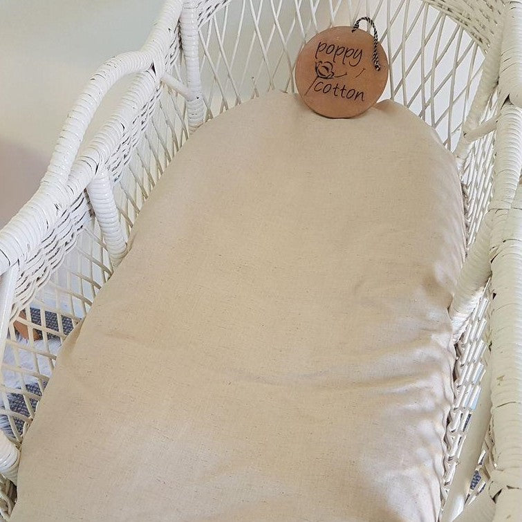 Fitted Moses Basket Sheet - Linen - Oatmeal
