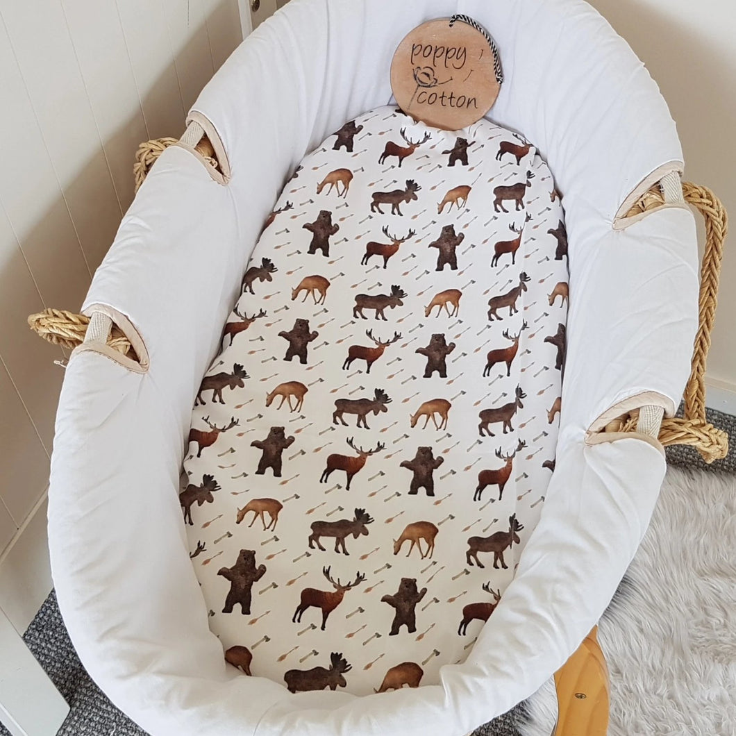 Fitted Moses Basket Sheet - Woodland Friends - Organic Cotton