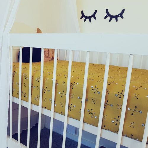 Fitted Cot Sheet - Mustard and Black