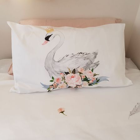 Single Swan Pillow Case  - Std Size