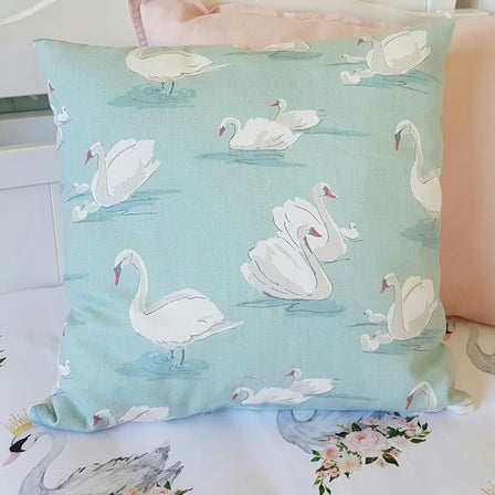 Duck Egg Blue Swan Cushion Cover