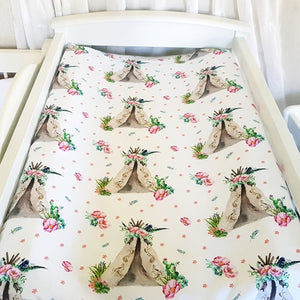 Change Mat Cover / Bassinet Sheet - Teepee Floral