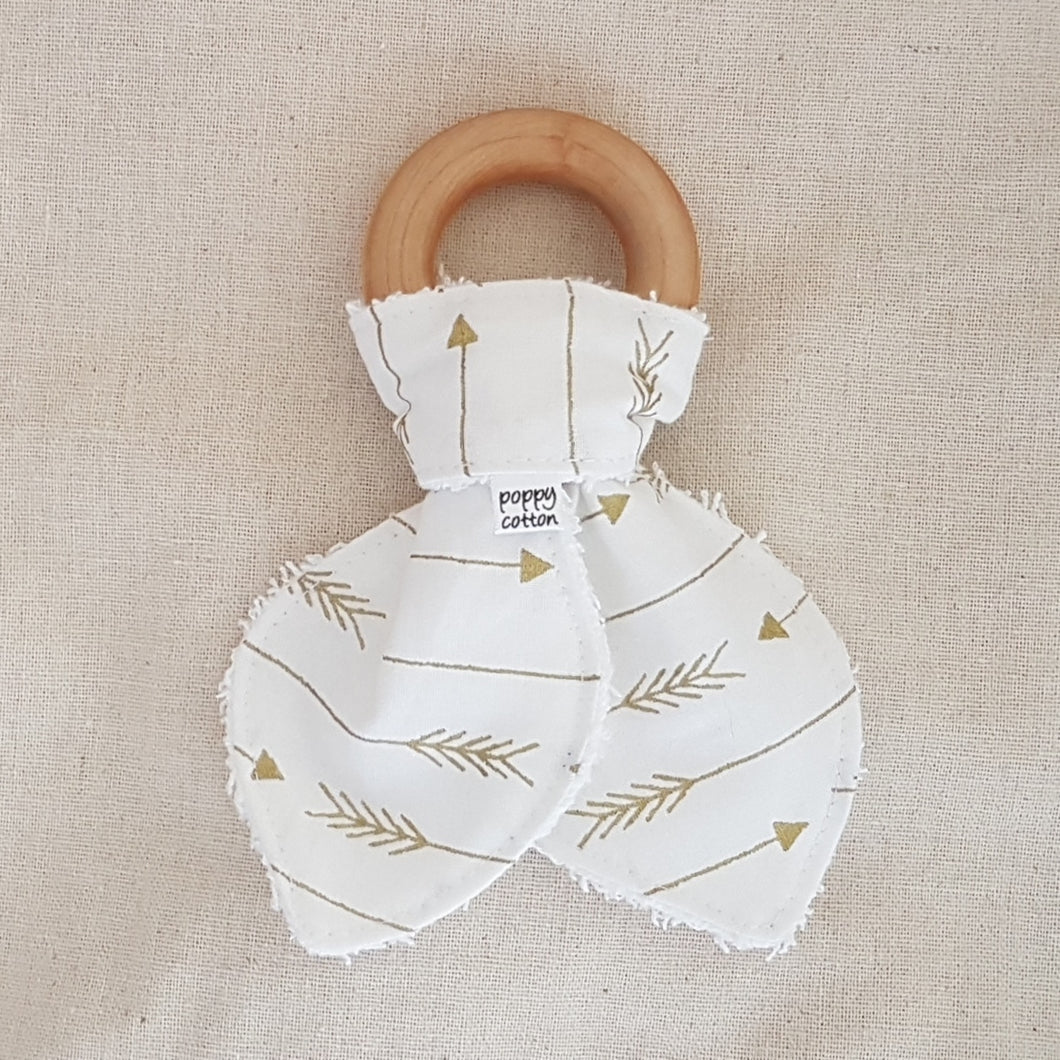 Organic Maple Teether - Gold Arrows