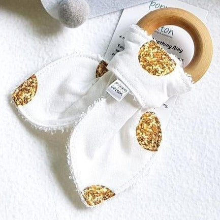 Organic Maple Teether - Gold Dots