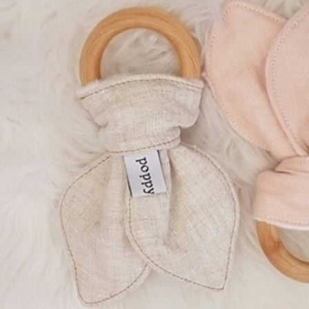 Organic Teething Ring - Linen - Oatmeal