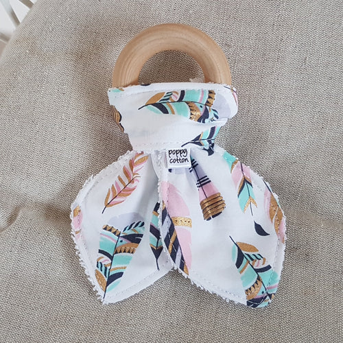 Organic Maple Teether - Pastel Feathers