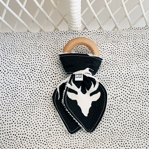 Organic Maple Teether - Stag Head On Black
