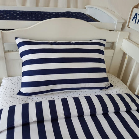 Toddler Pillow Case - Navy & White Stripe