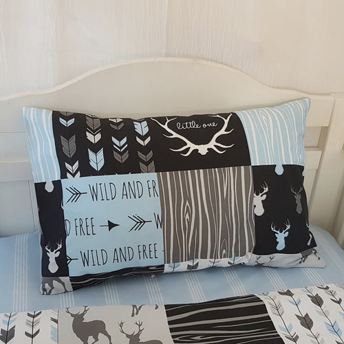 Toddler Pillow Case - Stag Patchwork - blue black grey
