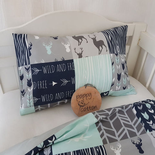 Toddler Pillow Case - Stag Patchwork -  navy grey mint
