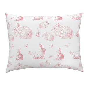 Toddler Pillow Case - Pink Bunnies