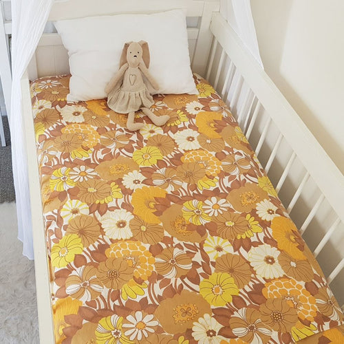 Fitted Cot Sheet - Gold Florals