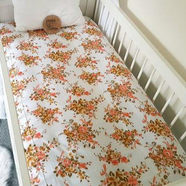 Vintage Fitted Cot Sheet - Bouquets