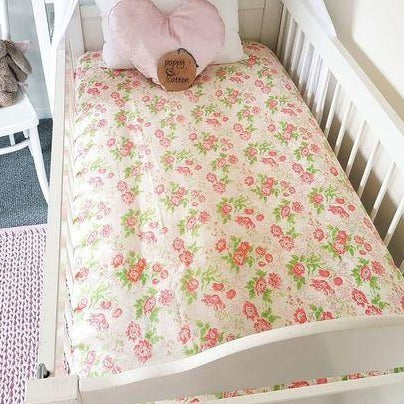 Fitted Cot Sheet - Coral Pink Floral