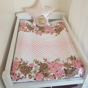 Change Mat Cover / Bassinet Sheet - Pink Spots & Roses