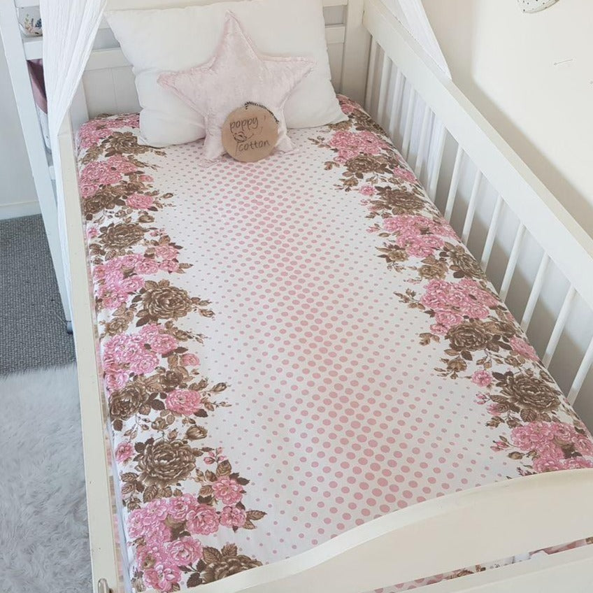 Fitted Cot Sheet - Pink Spots & Roses