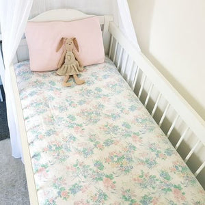 Vintage Fitted Cot Sheet - Florals & Bows