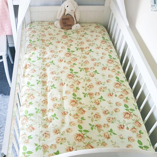 Vintage Fitted Cot Sheet - Yellow Roses