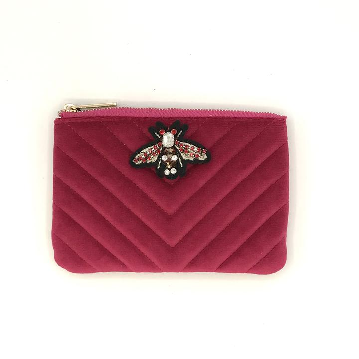 Bright Pink Recycled Velvet Purse