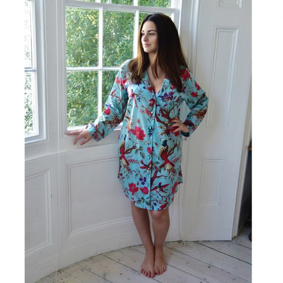 Turquoise Floral nightshirt by Powell Craft