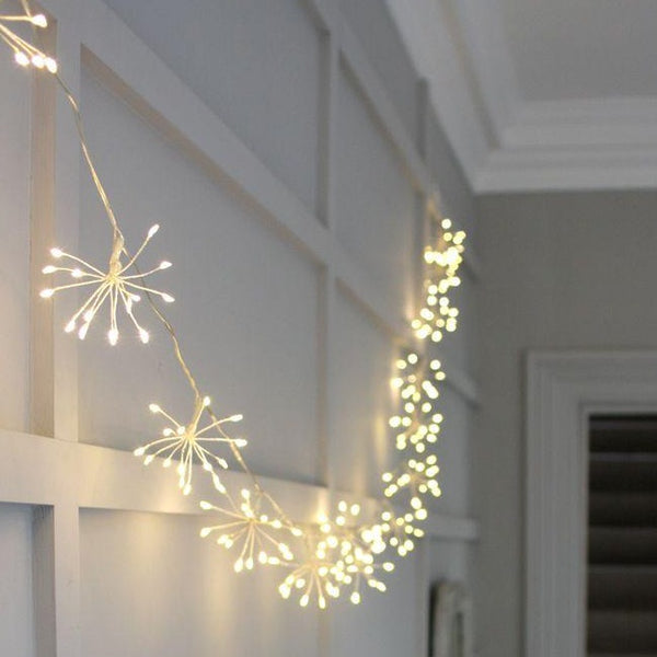 Starburst Silver Chain Garland Outdoor