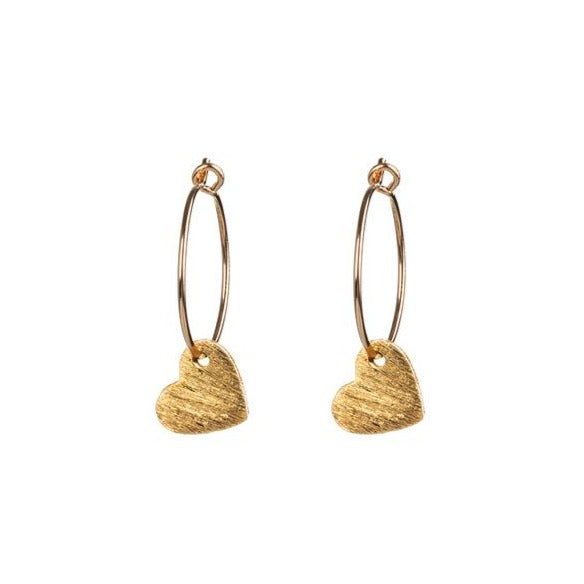 Gold Brushed Heart Earrings by One & Eight