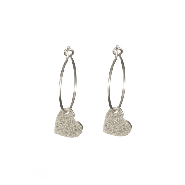 Silver Brushed Heart earrings by One & Eight