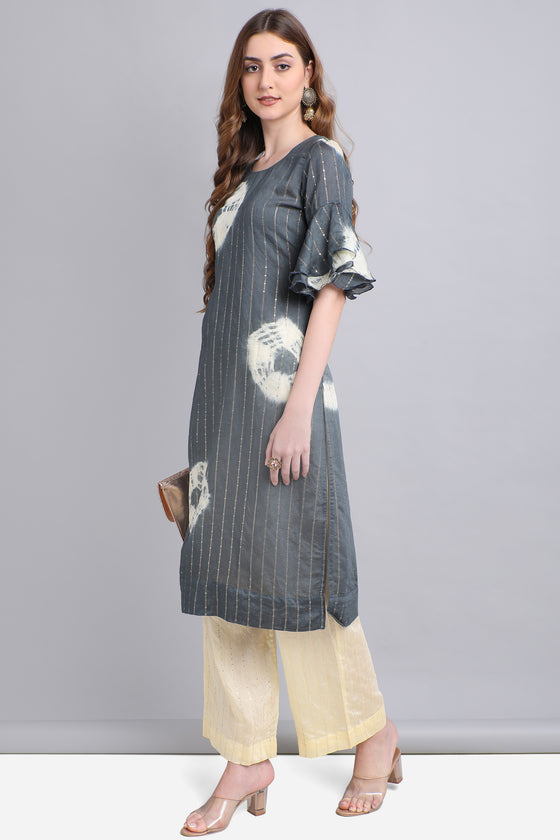 Grey Cotton Silk Kurti