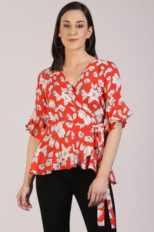 Red Floral Wrap Top - Isha Studio