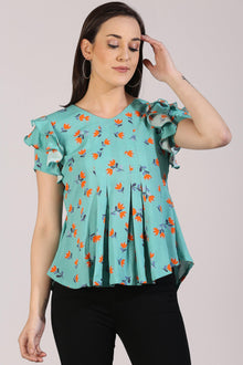 Floral Ruffles & Pleats Top - Isha Studio