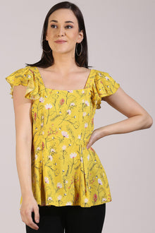 Floral Yellow Peplum Top - Isha Studio