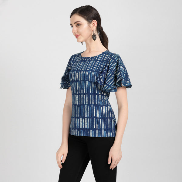 Bell Sleeves Indigo Top Tops Zyva