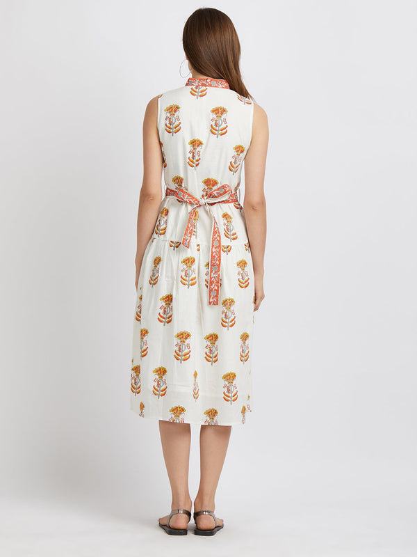 Pure Mul Cotton Handblock Printed Dress - Floral Zyva