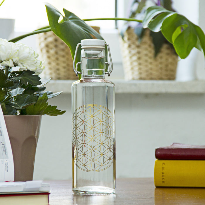 FLOWER OF LIFE - Trinkflasche - Glas - myconics