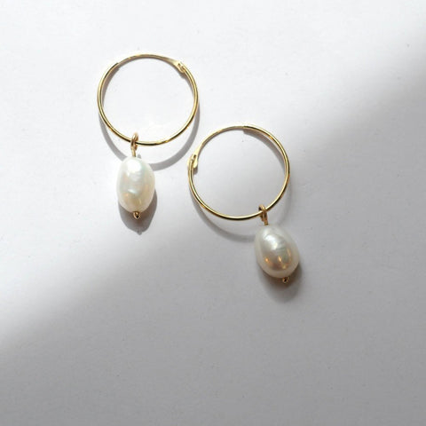 Thumbnail for GOLD HOOPS MIT PERLEN - Ohrringe aus recyceltem Gold