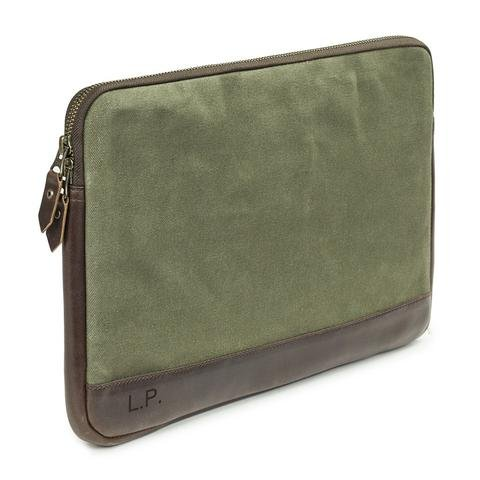 JAKE - 13 Zoll Laptop Sleeve aus Canvas und Leder___Color---Oliv