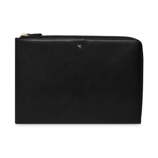 LAPTOP SLEEVE - Laptoptasche aus recyceltem Leder___Color---Schwarz